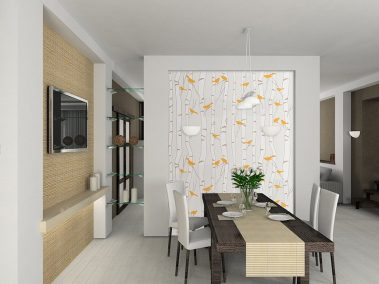 Casart coverings Birds -Birch wallcovering in Orange and Beige