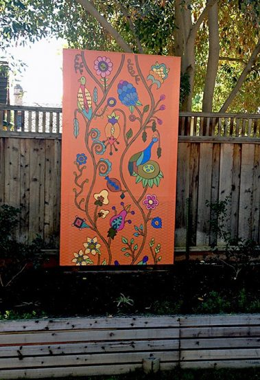 Casart Customer uses Kristin Nicholas Pasture Panel as artwork in garden