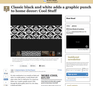 Casart coverings classic black peacock damask featured in Times Picayune