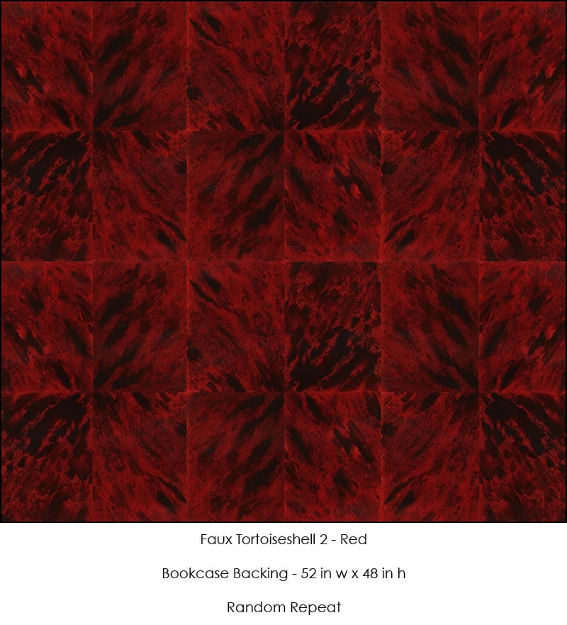 Casart Coverings Faux Tortoiseshell 2 Red Bookcase Backing removable wallpaper