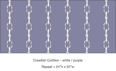 Pattern - Casart Crawfish Cotillion white light purple single crawfish dancing design on temporary wallpaper