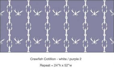 Pattern - Casart Crawfish Cotillion white light purple double crawfish dancing design on temporary wallpaper
