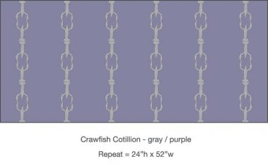 Pattern - Casart Crawfish Cotillion gray and light purple single crawfish dancing design on temporary wallpaper