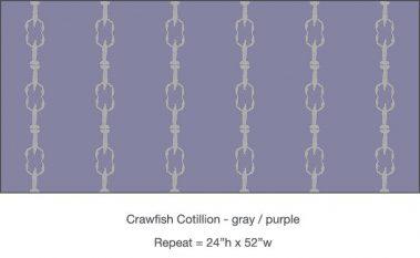 Pattern - Casart Crawfish Cotillion gray and light purple single crawfish dancing design on temporary wallpaper