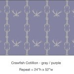 Pattern - Casart Crawfish Cotillion gray and light purple double crawfish dancing design on temporary wallpaper