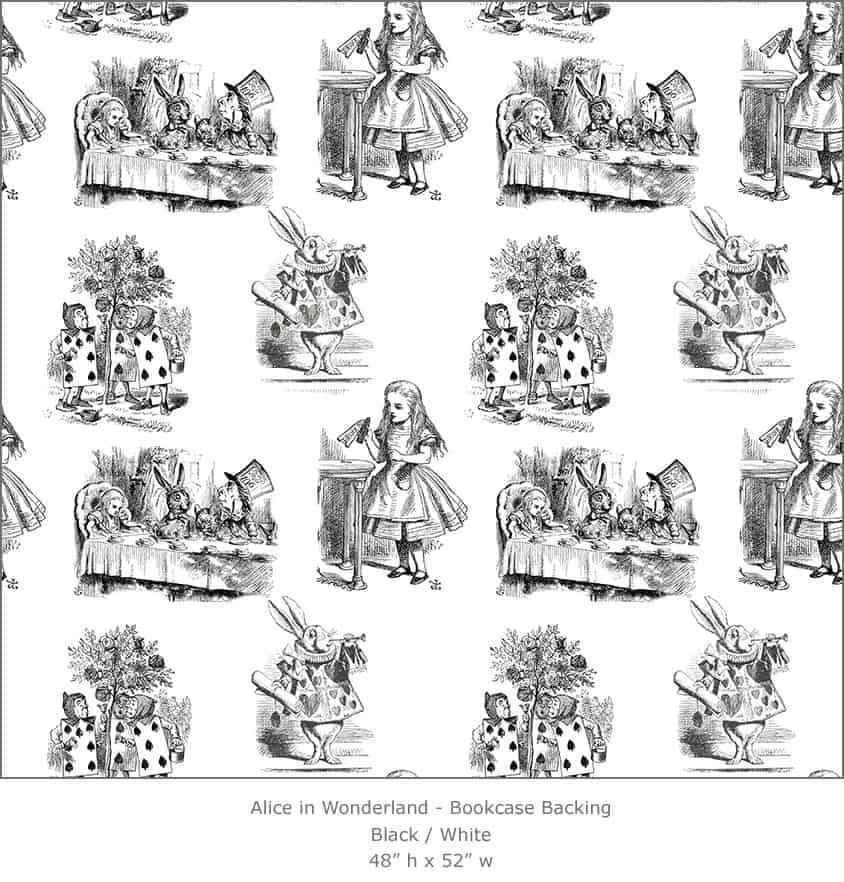Casart coverings 1_Alice in Wonderland Toile_1-black-white_Bookcase Backing