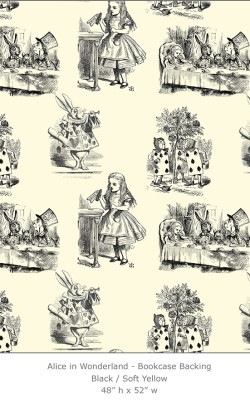 Casart coverings 1_Alice in Wonderland Toile_1-black-yellow_Bookcase Backing