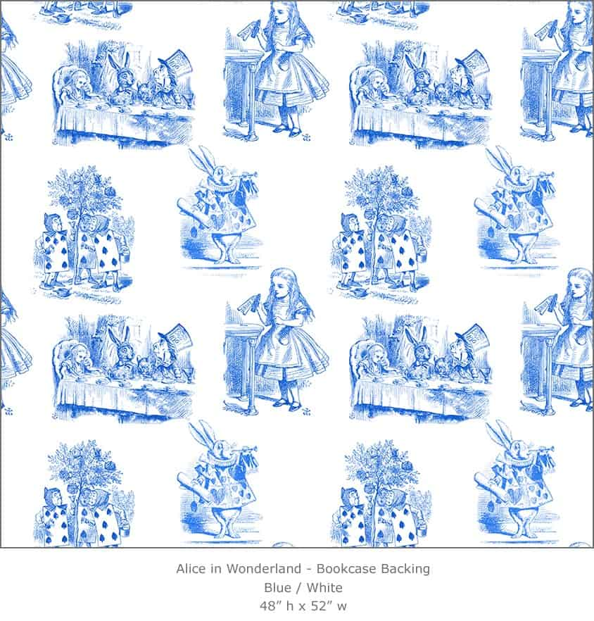 Casart coverings 2_Alice in Wonderland Toile_1-blue-white_Bookcase Backing
