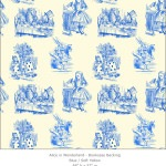Casart coverings 2_Alice in Wonderland Toile_1-blue-yellow_Bookcase Backing