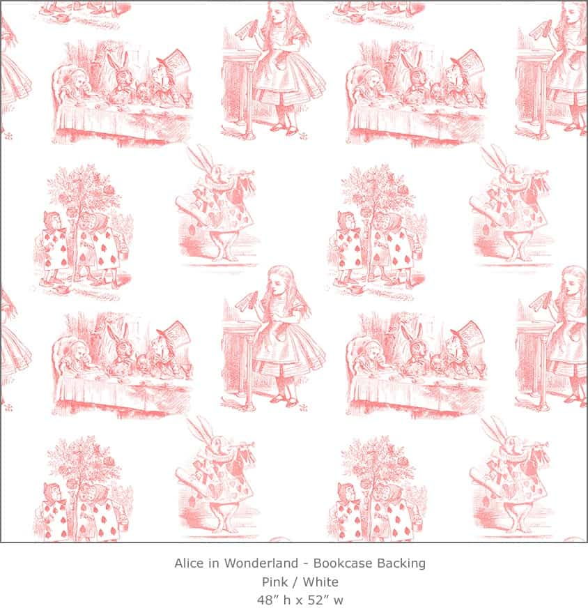 Casart coverings 3_Alice in Wonderland Toile_1-pink-white_Bookcase Backing