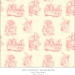 Casart coverings 3_Alice in Wonderland Toile_1-pink-yellow_Bookcase Backing