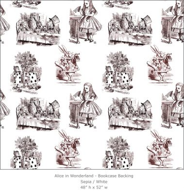 Casart coverings 4_Alice in Wonderland Toile_1-sepia-white_Bookcase Backing