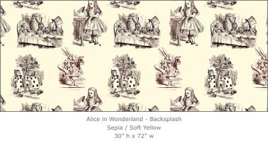 Casart coverings 4_Alice in Wonderland Toile_1-sepia-yellow_Backsplash