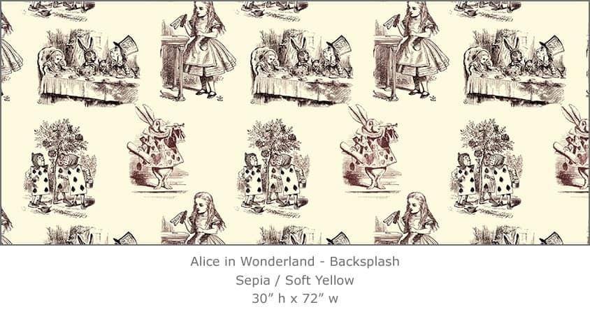 Casart coverings 4_Alice in Wonderland Toile_1-sepia-yellow_Backsplash