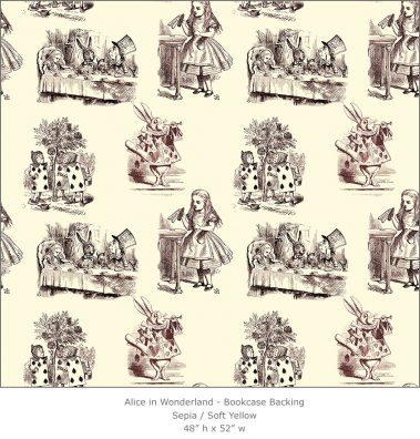 Casart coverings 4_Alice in Wonderland Toile_1-sepia-yellow_Bookcase Backing