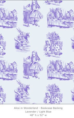 Casart coverings 5_Alice in Wonderland Toile_1-lavender-ltblue_Bookcase Backing