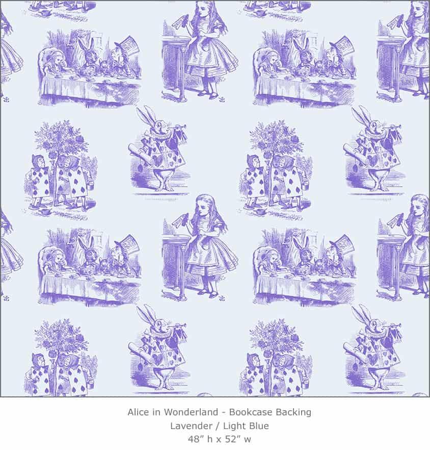 Casart coverings 5_Alice in Wonderland Toile_1-lavender-ltblue_Bookcase Backing
