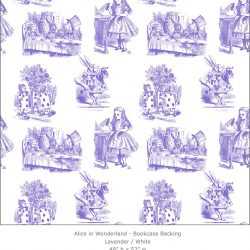 Casart coverings 5_Alice in Wonderland Toile_1-lavender-white_Bookcase Backing
