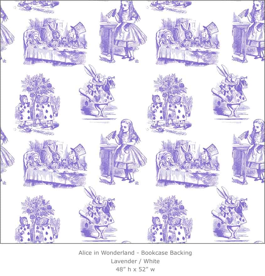 Casart coverings 5_Alice in Wonderland Toile_1-lavender-white_Bookcase Backing