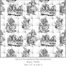 Casart coverings Alice in Wonderland HEADBOARD_Twin black-white