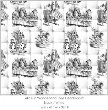 Casart coverings Alice in Wonderland HEADBOARD_Twin black-white