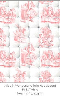 Casart coverings Alice in Wonderland HEADBOARD_Twin pink-white