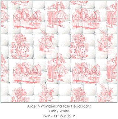 Casart coverings Alice in Wonderland HEADBOARD_Twin pink-white