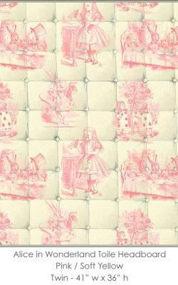 Casart coverings Alice in Wonderland HEADBOARD_Twin pink-yellow