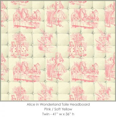 Casart coverings Alice in Wonderland HEADBOARD_Twin pink-yellow