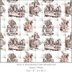 Casart coverings Alice in Wonderland HEADBOARD_Twin sepia-white