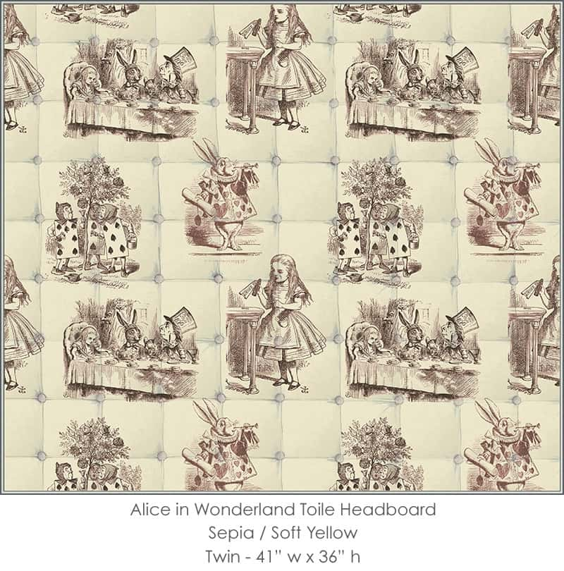 Casart coverings Alice in Wonderland HEADBOARD_Twin sepia-yellow
