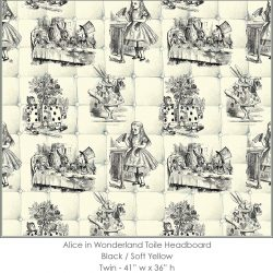 Casart coverings Alice in Wonderland HEADBOARD_Twin_black-yellow