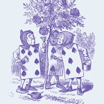 Casart coverings Alice in Wonderland Toile Cards_lavender-blue_detail