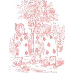 Casart coverings Alice in Wonderland Toile Cards_pink-white_detail