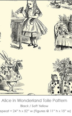 Casart coverings Alice in Wonderland Toile_1 black-soft yellow
