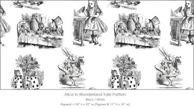 Casart coverings Alice in Wonderland Toile_1 black-white