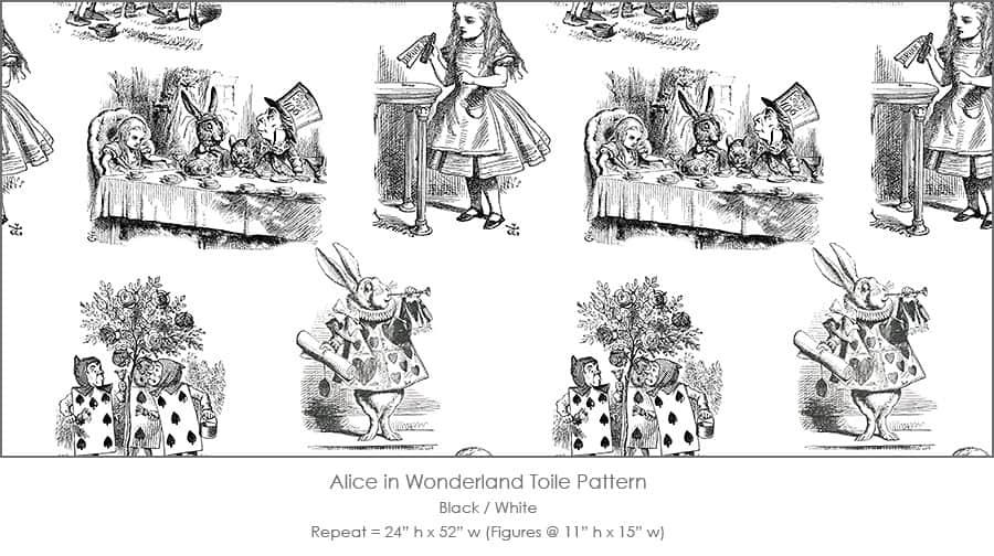 Casart coverings Alice in Wonderland Toile_1 black-white