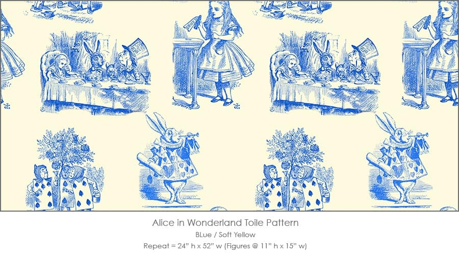 Casart coverings Alice in Wonderland Toile_1 blue-soft yellow