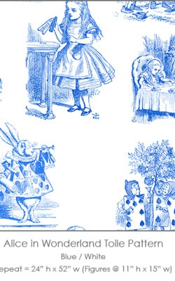 Casart coverings Alice in Wonderland Toile_1 blue-white