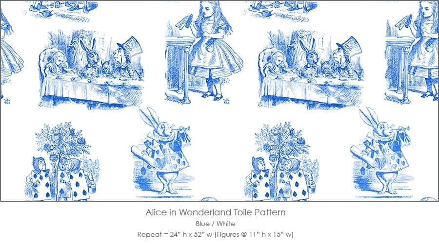 Casart coverings Alice in Wonderland Toile_1 blue-white