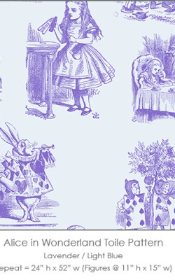Casart coverings Alice in Wonderland Toile_1 lavender-ltblue