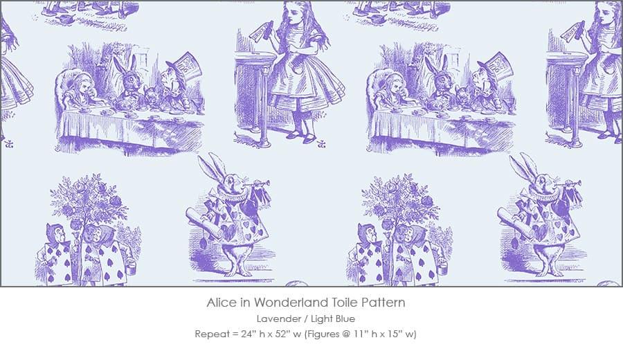 Casart coverings Alice in Wonderland Toile_1 lavender-ltblue