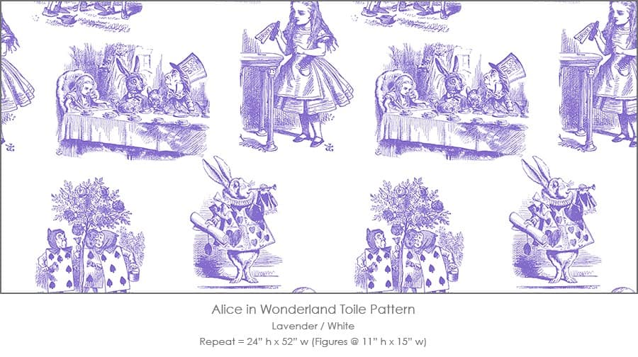Casart coverings Alice in Wonderland Toile_1 lavender-white