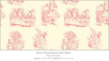 Casart coverings Alice in Wonderland Toile_1 pink-soft yellow