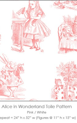 Casart coverings Alice in Wonderland Toile_1 pink-white