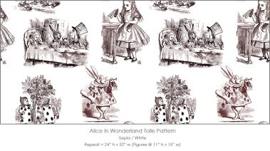 Casart coverings Alice in Wonderland Toile_1 sepia-white
