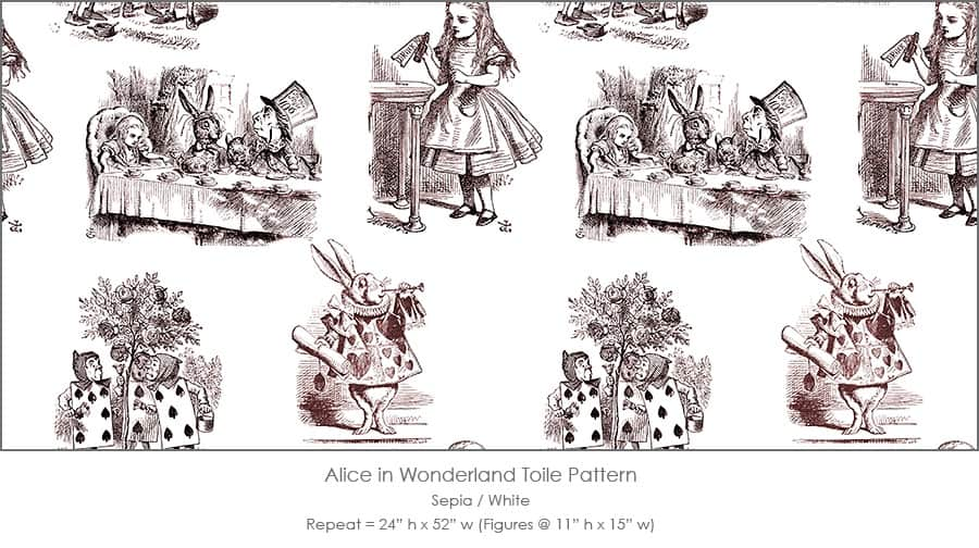 Casart coverings Alice in Wonderland Toile_1 sepia-white