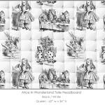 Casart coverings Alice in Wonderland HEADBOARD_Queen_black-white