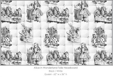 Casart coverings Alice in Wonderland HEADBOARD_Queen_black-white