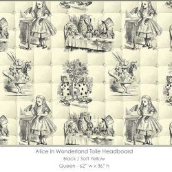 Casart coverings Alice in Wonderland HEADBOARD_Queen_black-yellow